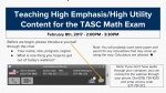 Teaching High Emphasis/High Utility Content for the TASC Math Exam